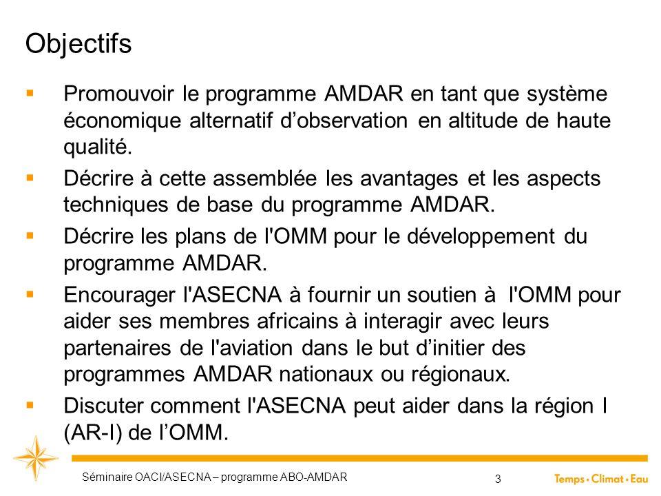 Objectifs  Promouvoir le programme AMDAR en tant que système économique alternatif d'observation en altitude de haute qualité.  Décrire à cette asse
