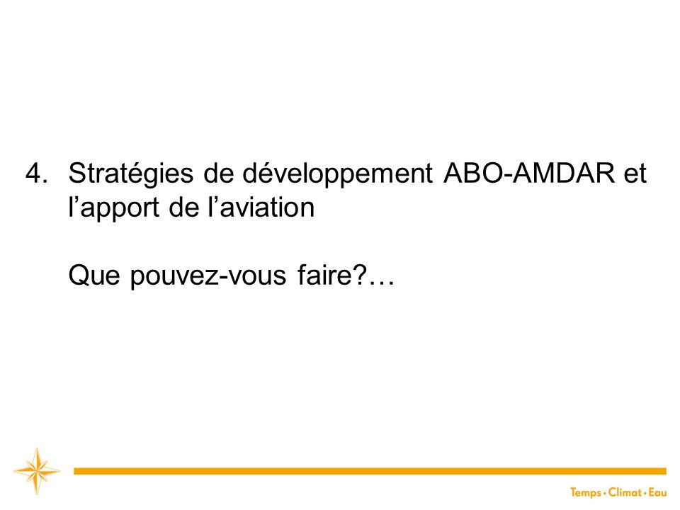 4.Stratégies de développement ABO-AMDAR et l'apport de l'aviation Que pouvez-vous faire?…