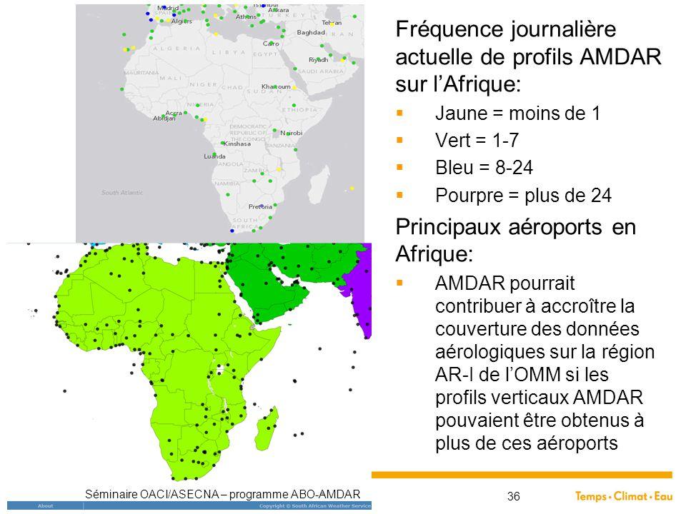 Fréquence journalière actuelle de profils AMDAR sur l'Afrique:  Jaune = moins de 1  Vert = 1-7  Bleu = 8-24  Pourpre = plus de 24 Principaux aérop