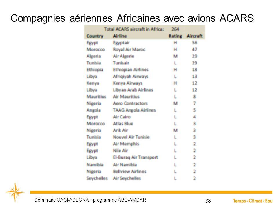Compagnies aériennes Africaines avec avions ACARS Séminaire OACI/ASECNA – programme ABO-AMDAR 38