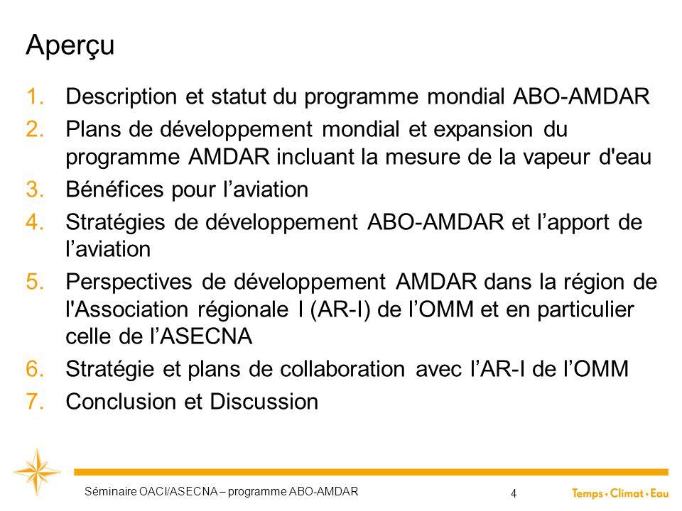 Aperçu 1.Description et statut du programme mondial ABO-AMDAR 2.Plans de développement mondial et expansion du programme AMDAR incluant la mesure de l