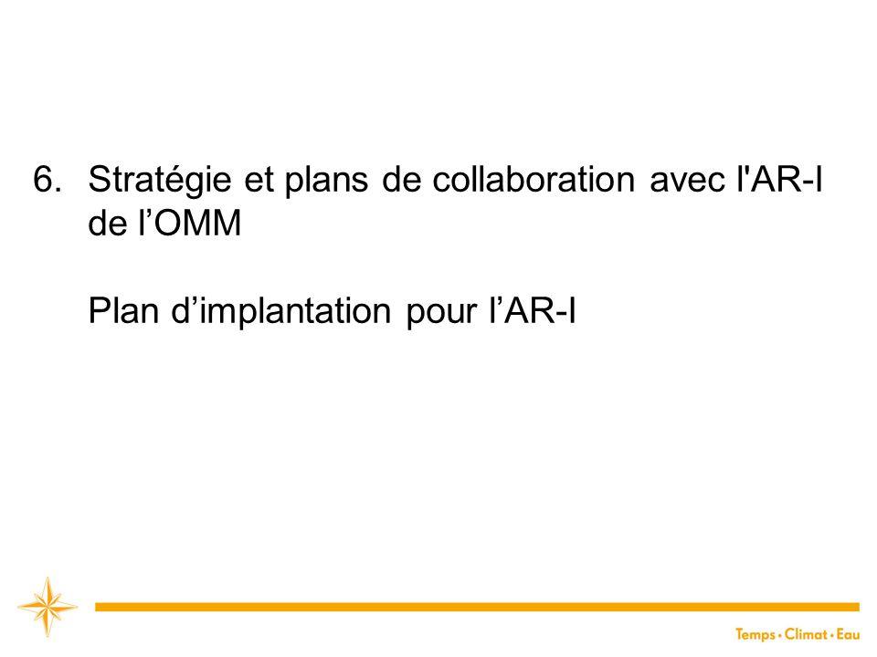 6.Stratégie et plans de collaboration avec l'AR-I de l'OMM Plan d'implantation pour l'AR-I
