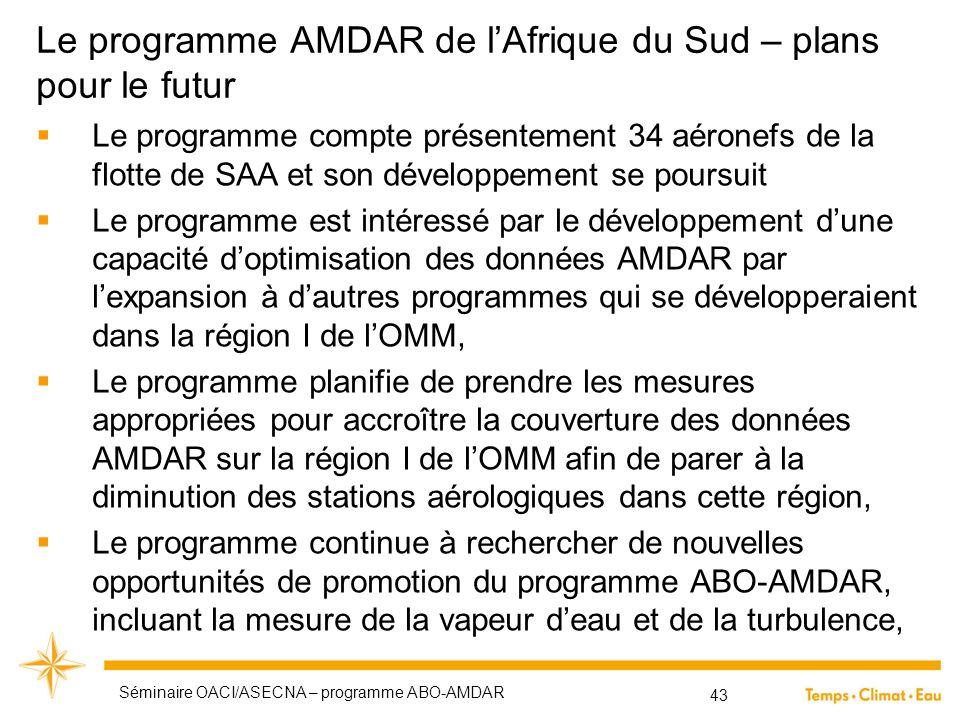 Le programme AMDAR de l'Afrique du Sud – plans pour le futur  Le programme compte présentement 34 aéronefs de la flotte de SAA et son développement s