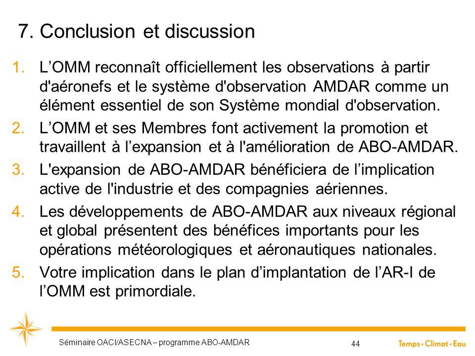 7. Conclusion et discussion 1.L'OMM reconnaît officiellement les observations à partir d'aéronefs et le système d'observation AMDAR comme un élément e