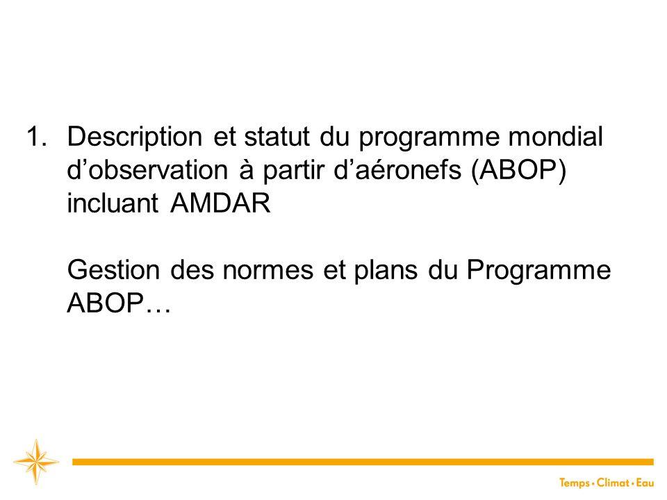 1.Description et statut du programme mondial d'observation à partir d'aéronefs (ABOP) incluant AMDAR Gestion des normes et plans du Programme ABOP…