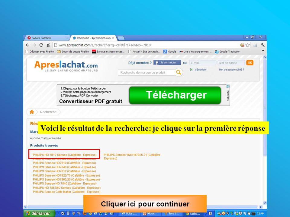 Recherche à partir du site aprèslachat.com Saisissons la référence de la Senséo (marquée dessous) ici et cliquons sur la loupe Cliquer ici pour continuer