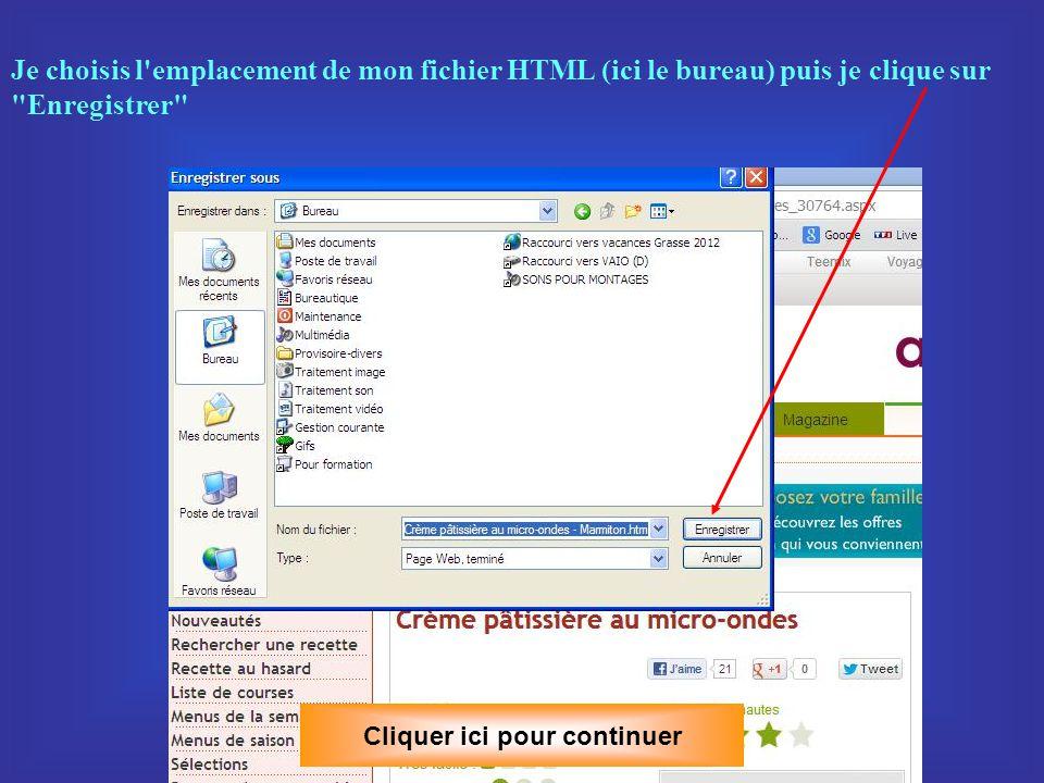C– Je choisis plutôt d enregistrer la page HTML Je fais un clic du bouton droit de la souris sur la page, le menu contextuel s ouvre et choisis l option Enregistrer sous…