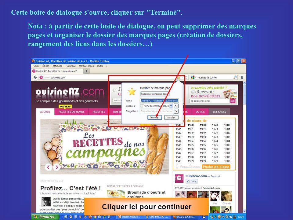 Seconde méthode : clic gauche sur le menu Marque pages Cliquer ici pour continuer et option marquer cette page.