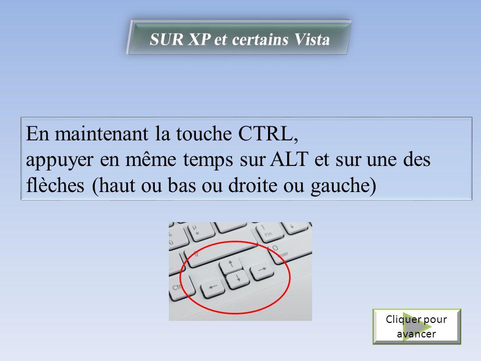 En maintenant la touche CTRL, appuyer en même temps sur ALT et sur une des flèches (haut ou bas ou droite ou gauche) Cliquer pour avancer