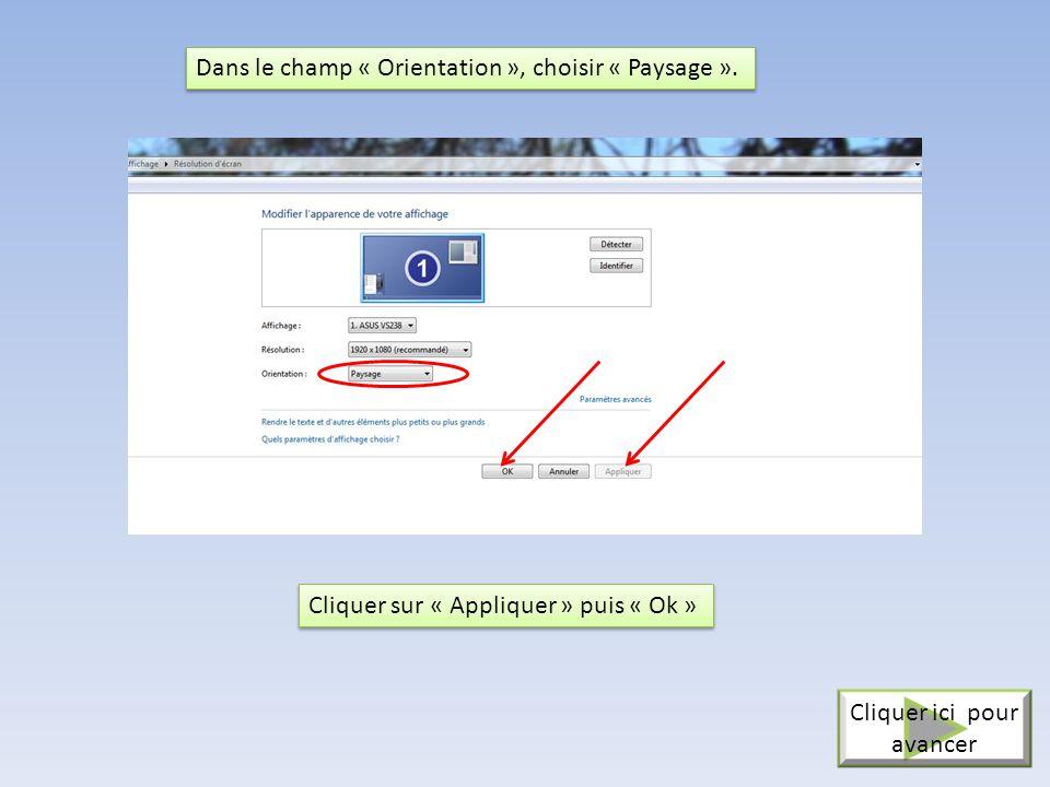 Choisir l'option « Modifier les paramètres d' Affichage ». Cliquer ici pour avancer