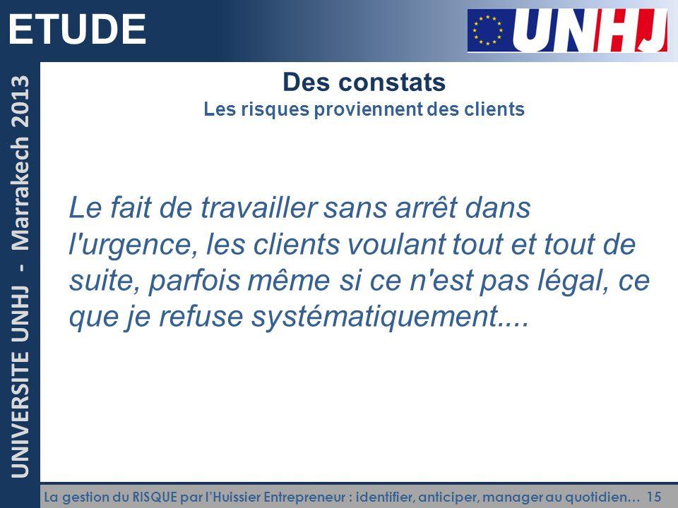 La gestion du RISQUE par l'Huissier Entrepreneur : identifier, anticiper, manager au quotidien… 15 UNIVERSITE UNHJ - Marrakech 2013 ETUDE Des constats