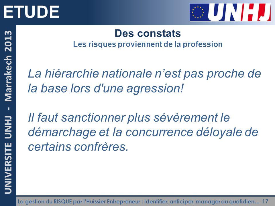 La gestion du RISQUE par l'Huissier Entrepreneur : identifier, anticiper, manager au quotidien… 17 UNIVERSITE UNHJ - Marrakech 2013 ETUDE Des constats