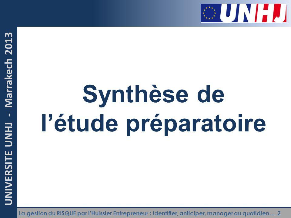 La gestion du RISQUE par l'Huissier Entrepreneur : identifier, anticiper, manager au quotidien… 2 UNIVERSITE UNHJ - Marrakech 2013 Synthèse de l'étude