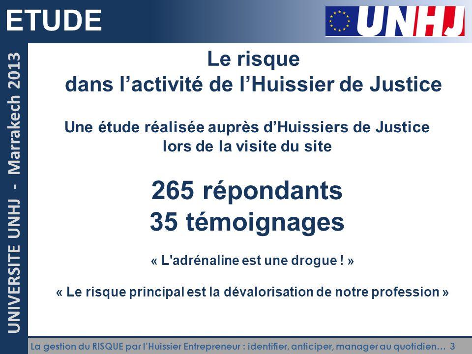 La gestion du RISQUE par l'Huissier Entrepreneur : identifier, anticiper, manager au quotidien… 3 UNIVERSITE UNHJ - Marrakech 2013 ETUDE Le risque dan