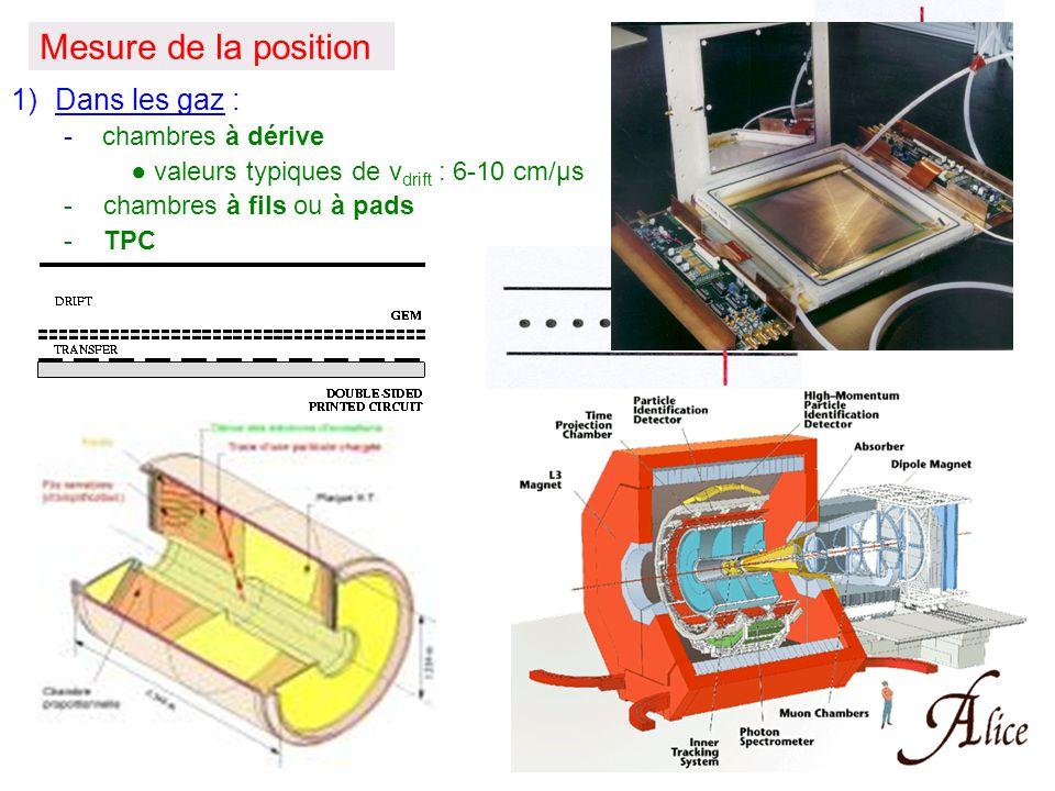 Mesure de la position 1)Dans les gaz : - chambres à dérive ● valeurs typiques de v drift : 6-10 cm/μs -chambres à fils ou à pads -TPC