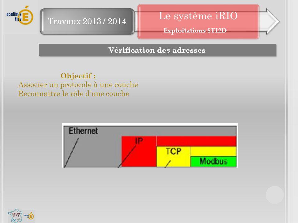 Travaux 2013 / 2014 Le système iRIO Vérification des adresses Objectif : Associer un protocole à une couche Reconnaitre le rôle d'une couche Exploitat