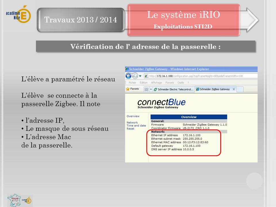 Travaux 2013 / 2014 Le système iRIO Vérification de l' adresse de la passerelle : L'élève a paramétré le réseau L'élève se connecte à la passerelle Zi