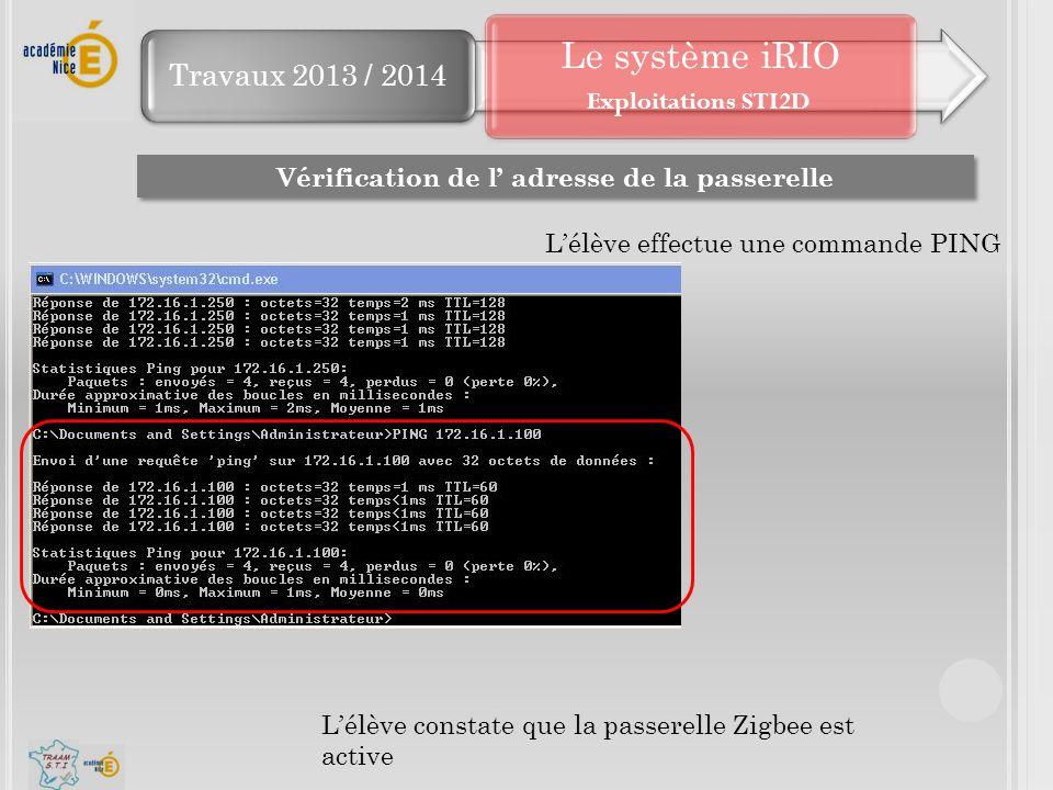 Travaux 2013 / 2014 Le système iRIO Vérification de l' adresse de la passerelle L'élève constate que la passerelle Zigbee est active L'élève effectue