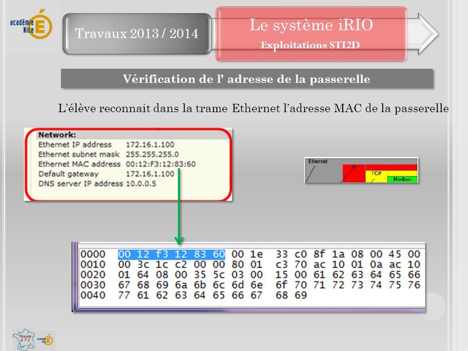 Travaux 2013 / 2014 Le système iRIO Vérification de l' adresse de la passerelle L'élève reconnait dans la trame Ethernet l'adresse MAC de la passerell