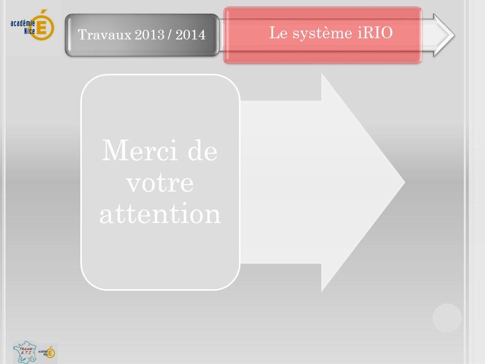 Travaux 2013 / 2014 Merci de votre attention Le système iRIO