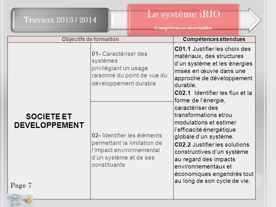 Travaux 2013 / 2014 Le système iRIO Compétences abordables Objectifs de formationCompétences attendues SOCIETE ET DEVELOPPEMENT 01- Caractériser des s