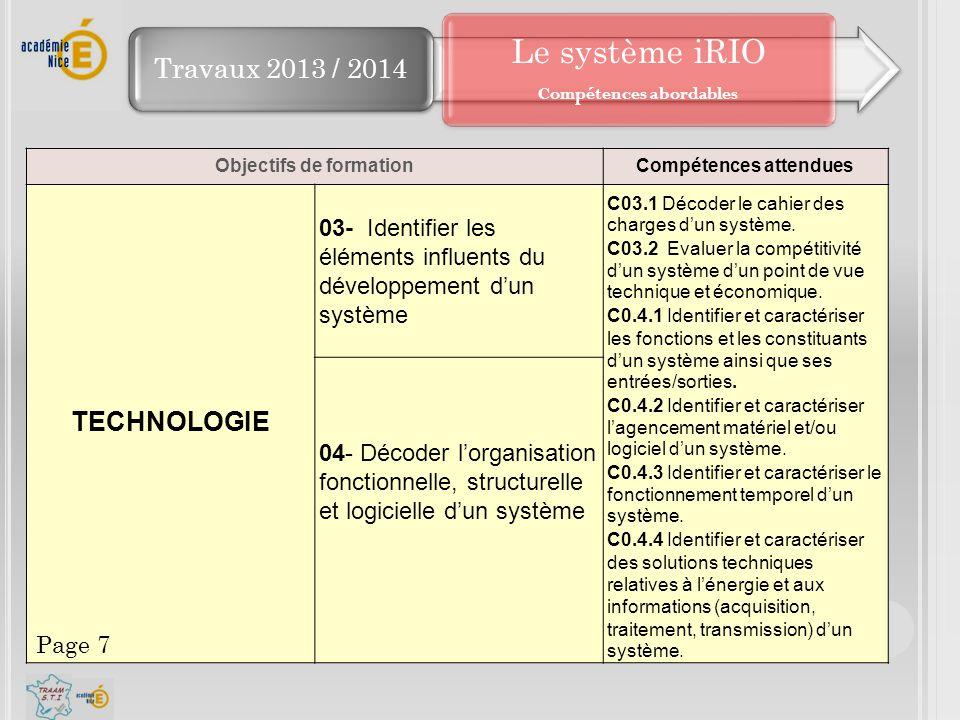 Travaux 2013 / 2014 Objectifs de formationCompétences attendues TECHNOLOGIE 03- Identifier les éléments influents du développement d'un système C03.1