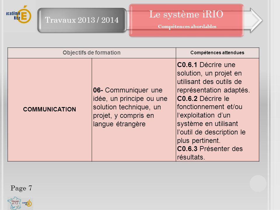 Travaux 2013 / 2014 Objectifs de formation Compétences attendues COMMUNICATION 06- Communiquer une idée, un principe ou une solution technique, un pro