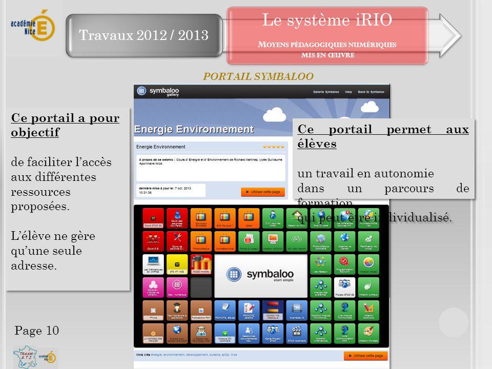 Travaux 2012 / 2013 Le système iRIO M OYENS PÉDAGOGIQUES NUMÉRIQUES MIS EN ŒUVRE PORTAIL SYMBALOO Chacun de ces outils doit s'intégrer à la constructi
