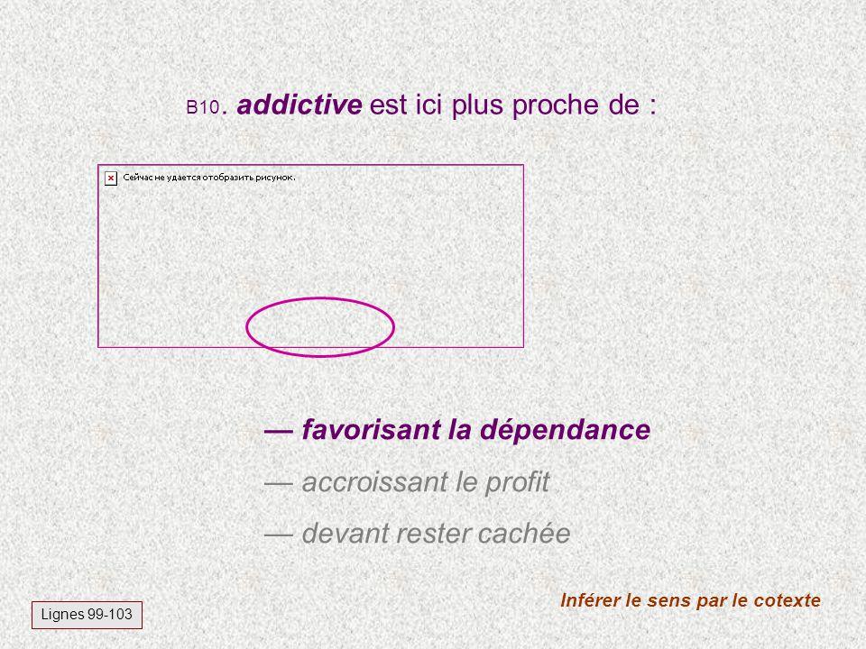 B10. addictive est ici plus proche de : Lignes 99-103 Inférer le sens par le cotexte — favorisant la dépendance — accroissant le profit — devant reste