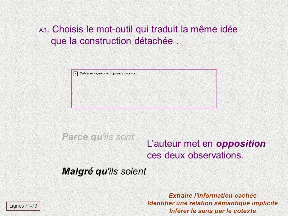 A3.Choisis le mot-outil qui traduit la même idée que la construction détachée.