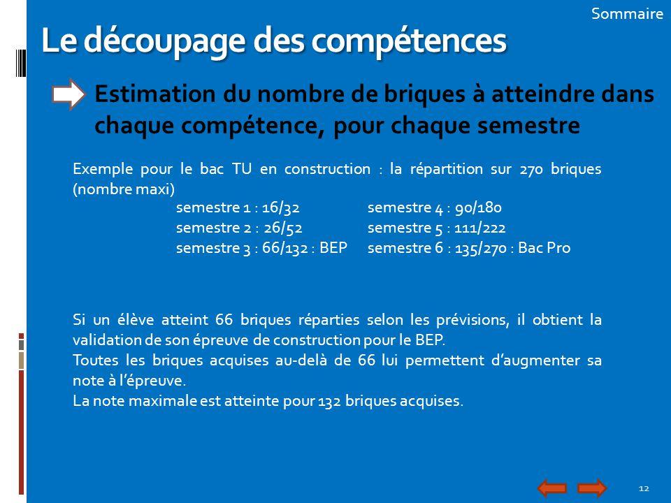 12 Sommaire Le découpage des compétences Estimation du nombre de briques à atteindre dans chaque compétence, pour chaque semestre Exemple pour le bac