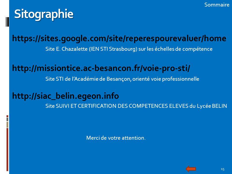 15 SommaireSitographie https://sites.google.com/site/reperespourevaluer/home Site E. Chazalette (IEN STI Strasbourg) sur les échelles de compétence ht