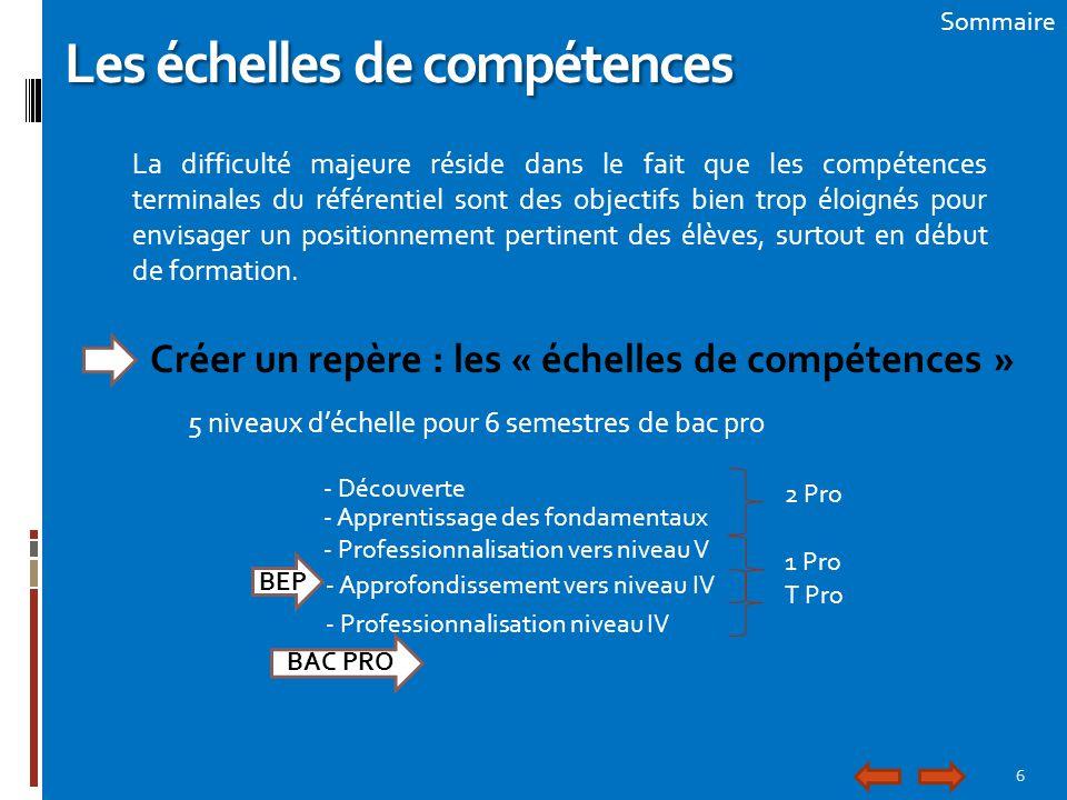 6 Sommaire Les échelles de compétences La difficulté majeure réside dans le fait que les compétences terminales du référentiel sont des objectifs bien