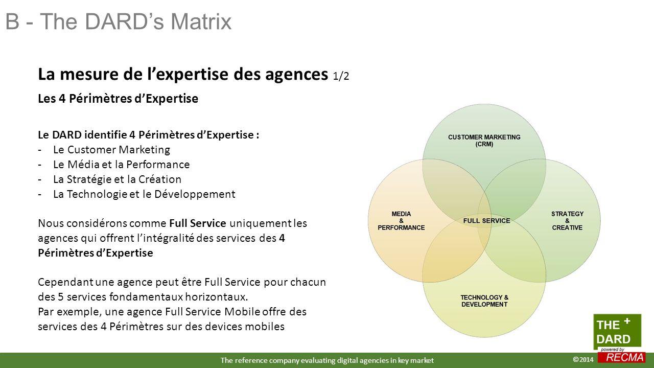 B - The DARD's Matrix Le DARD identifie 4 Périmètres d'Expertise : -Le Customer Marketing -Le Média et la Performance -La Stratégie et la Création -La Technologie et le Développement Nous considérons comme Full Service uniquement les agences qui offrent l'intégralité des services des 4 Périmètres d'Expertise Cependant une agence peut être Full Service pour chacun des 5 services fondamentaux horizontaux.
