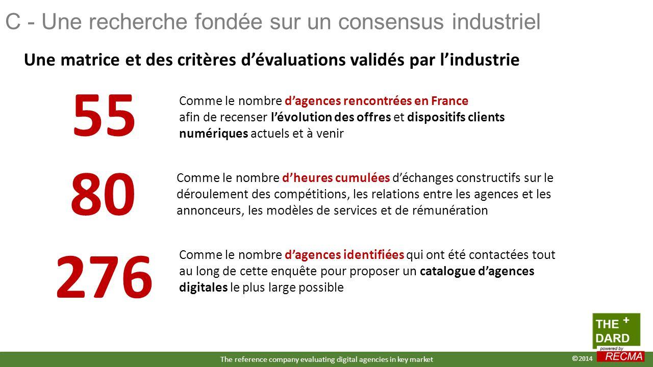 C - Une recherche fondée sur un consensus industriel 55 276 Comme le nombre d'agences rencontrées en France afin de recenser l'évolution des offres et