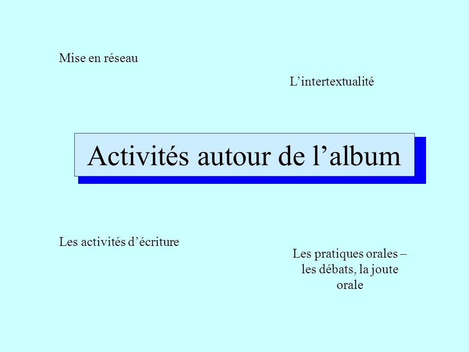 Activités autour de l'album Mise en réseau L'intertextualité Les activités d'écriture Les pratiques orales – les débats, la joute orale