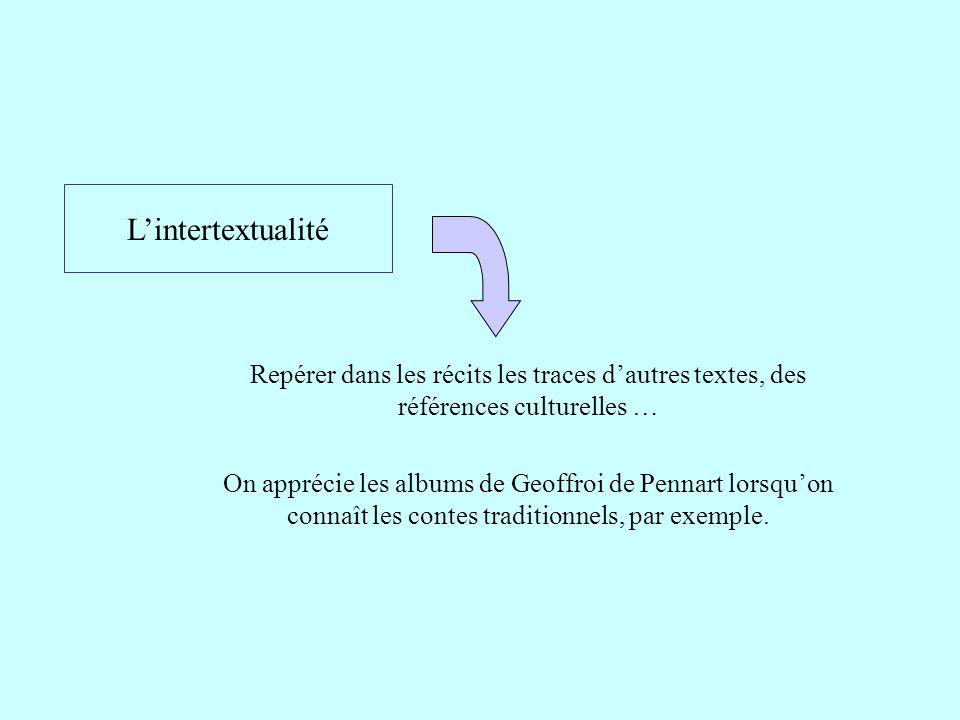 L'intertextualité Repérer dans les récits les traces d'autres textes, des références culturelles … On apprécie les albums de Geoffroi de Pennart lorsq