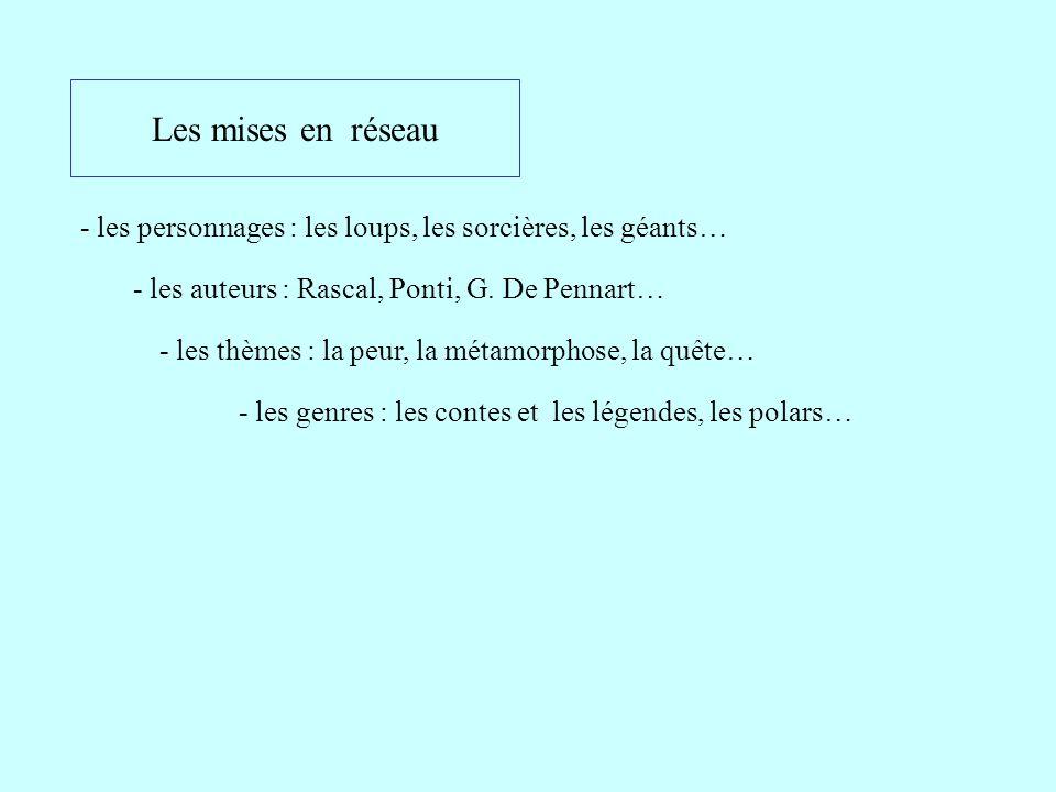 Les mises en réseau - les personnages : les loups, les sorcières, les géants… - les auteurs : Rascal, Ponti, G. De Pennart… - les thèmes : la peur, la