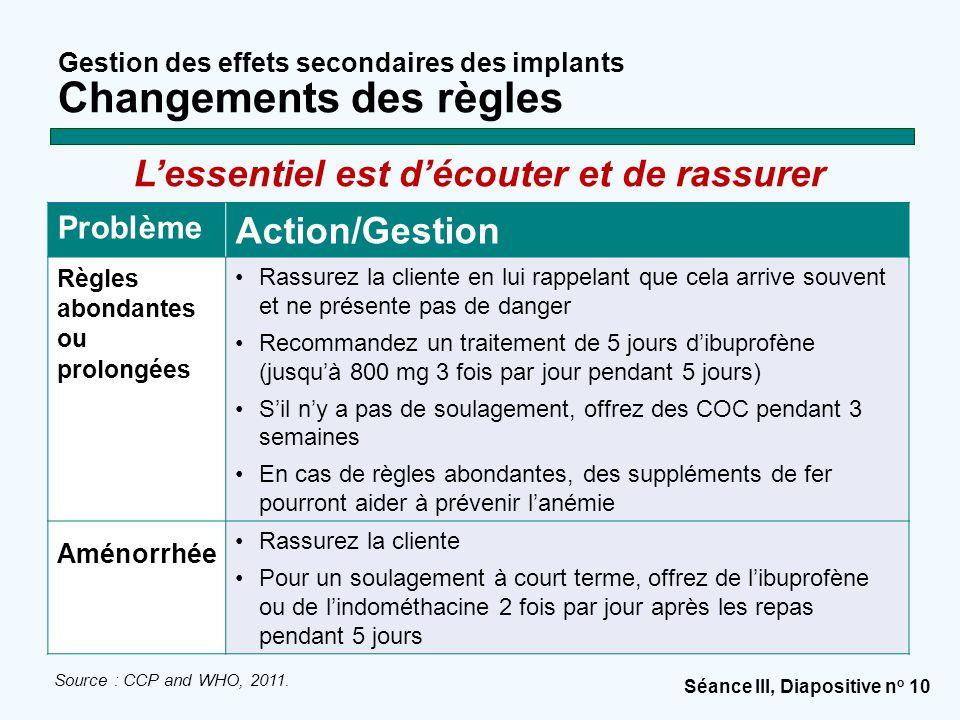 Séance III, Diapositive n o 10 Gestion des effets secondaires des implants Changements des règles Problème Action/Gestion Règles abondantes ou prolong
