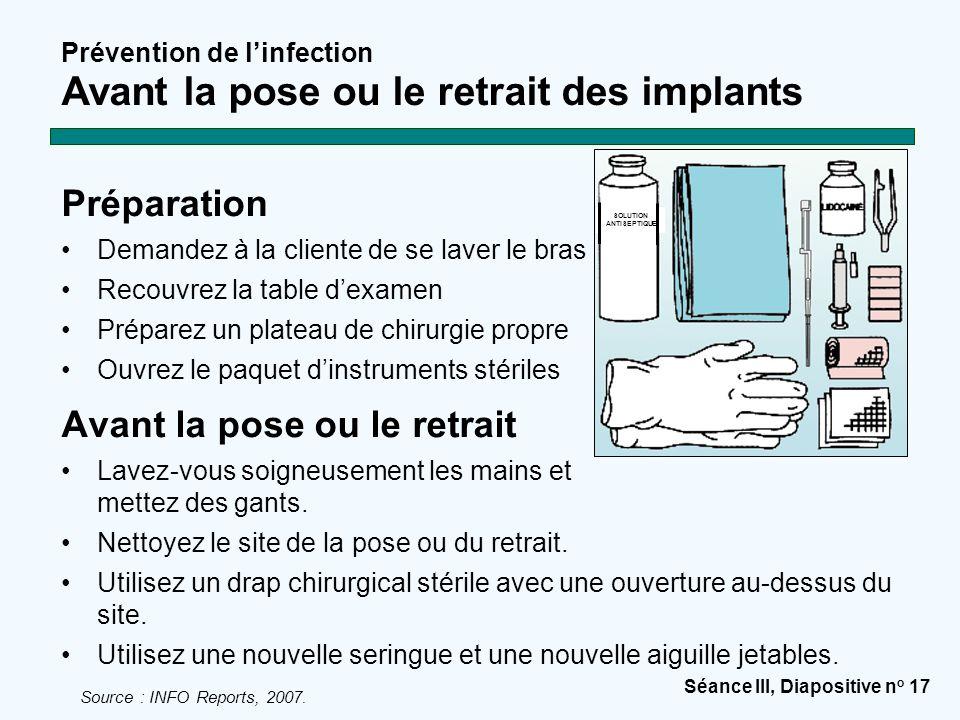 Séance III, Diapositive n o 17 Prévention de l'infection Avant la pose ou le retrait des implants Préparation Demandez à la cliente de se laver le bra