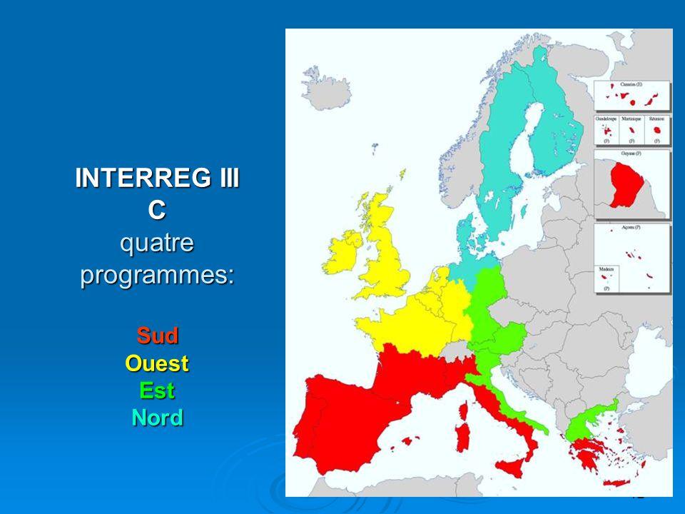 13  Cadre d'application è Tout le territoire de l UE est éligible è Coopération avec partenaires des pays et régions voisins prioritaire è Gestion décentralisée (quatre AG, secrétariats conjoints) INTERREG III C Coopération Interrégionale