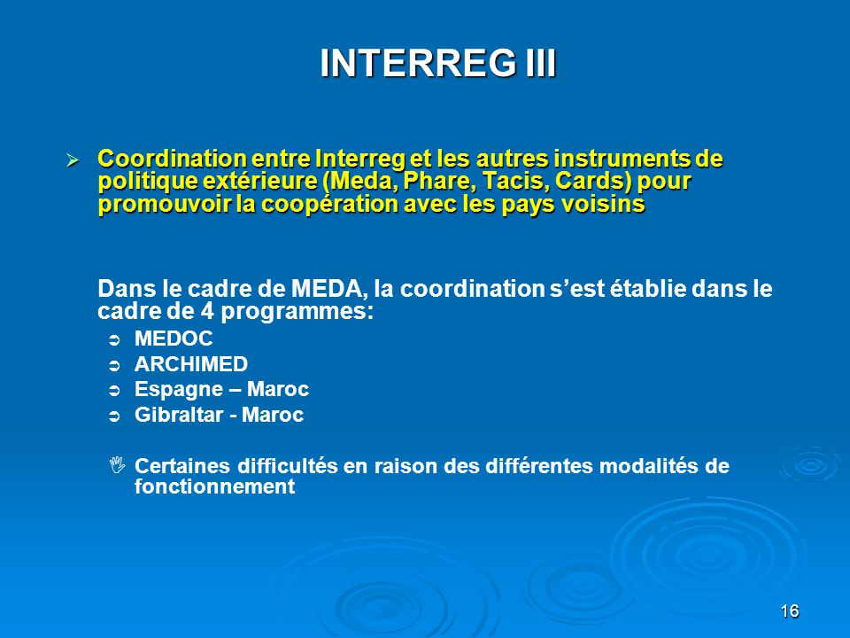 17 INTERREG III B Méditerranée Occidentale