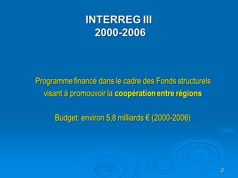 3 n Objectifs:   renforcer la cohésion économique et sociale;   promouvoir l intégration territoriale avec les pays voisins;   accorder une attention particulière aux frontières extérieures, aux régions périphériques et insulaires;   améliorer la coopération entre autorités locales, régionales et nationales INTERREG III