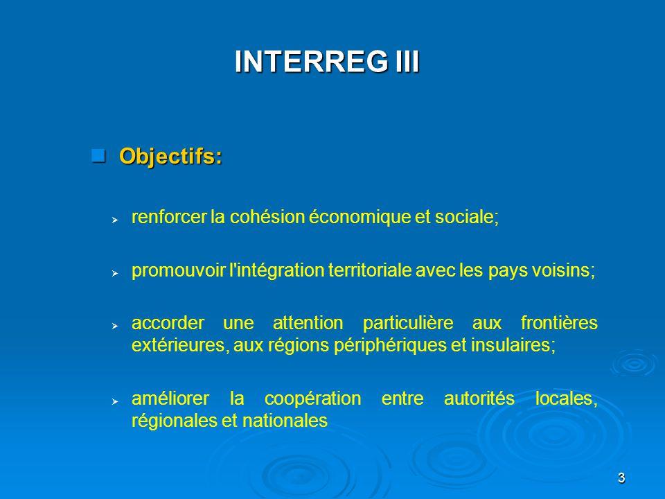 4 Le programme s articule autour de 3 volets:   A : coopération transfrontalière (69% des fonds)   B:coopération transnationale (25%)   C:coopération interrégionale (6%) INTERREG III