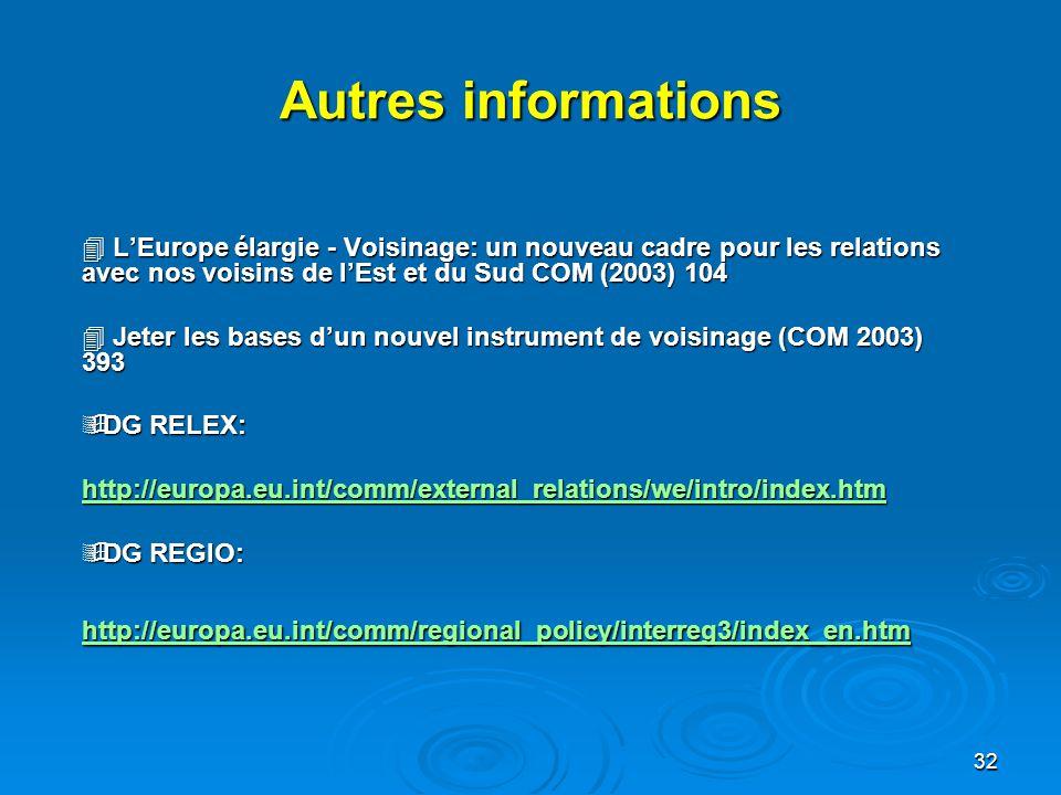 32 Autres informations  L'Europe élargie - Voisinage: un nouveau cadre pour les relations avec nos voisins de l'Est et du Sud COM (2003) 104  Jeter les bases d'un nouvel instrument de voisinage (COM 2003) 393  DG RELEX: http://europa.eu.int/comm/external_relations/we/intro/index.htm  DG REGIO: http://europa.eu.int/comm/regional_policy/interreg3/index_en.htm