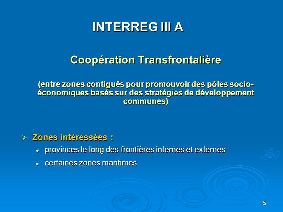 6 (+/- 70 programmes) Zones éligibles 2 programmes coordonnés avec MEDA: Espagne - Maroc Gibraltar - Maroc