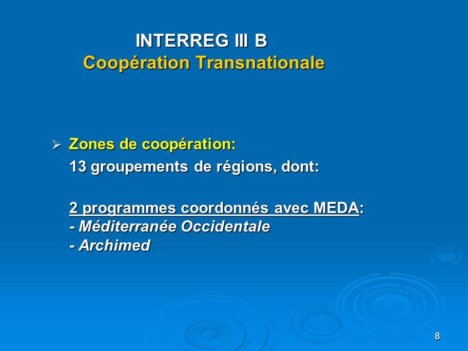 9 INTERREG III B 13 programmes