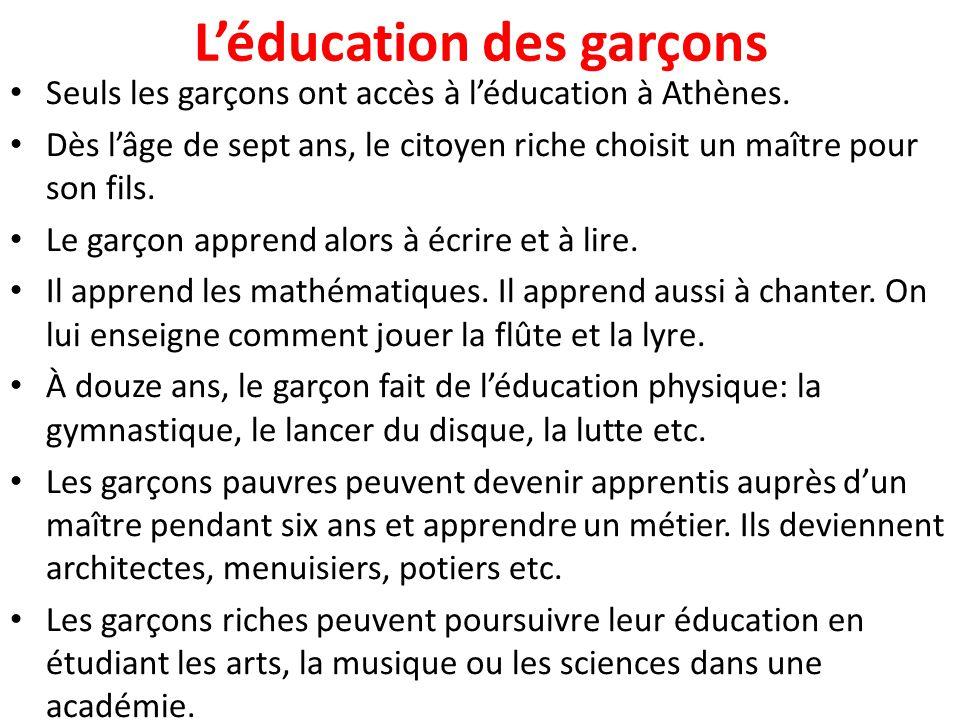 L'éducation des filles Les filles ne vont pas à l'école.