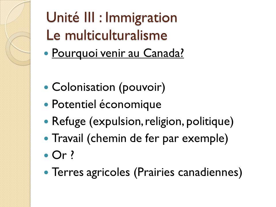 Unité III : Immigration Le multiculturalisme Pourquoi venir au Canada.