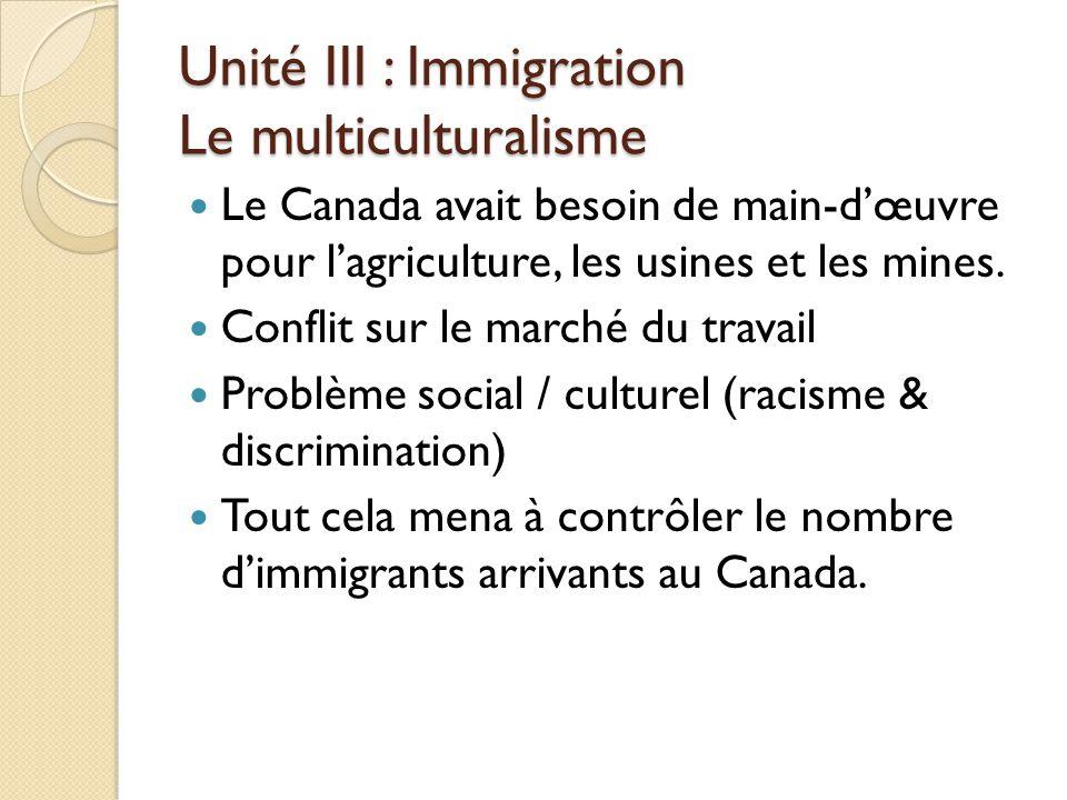 Unité III : Immigration Le multiculturalisme Le Canada avait besoin de main-d'œuvre pour l'agriculture, les usines et les mines.